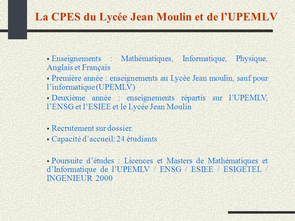 La CPES du Lycée Jean Moulin et de lUPEMLV Enseignements : Mathématiques, Informatique, Physique, Anglais et Français Première année : enseignements a