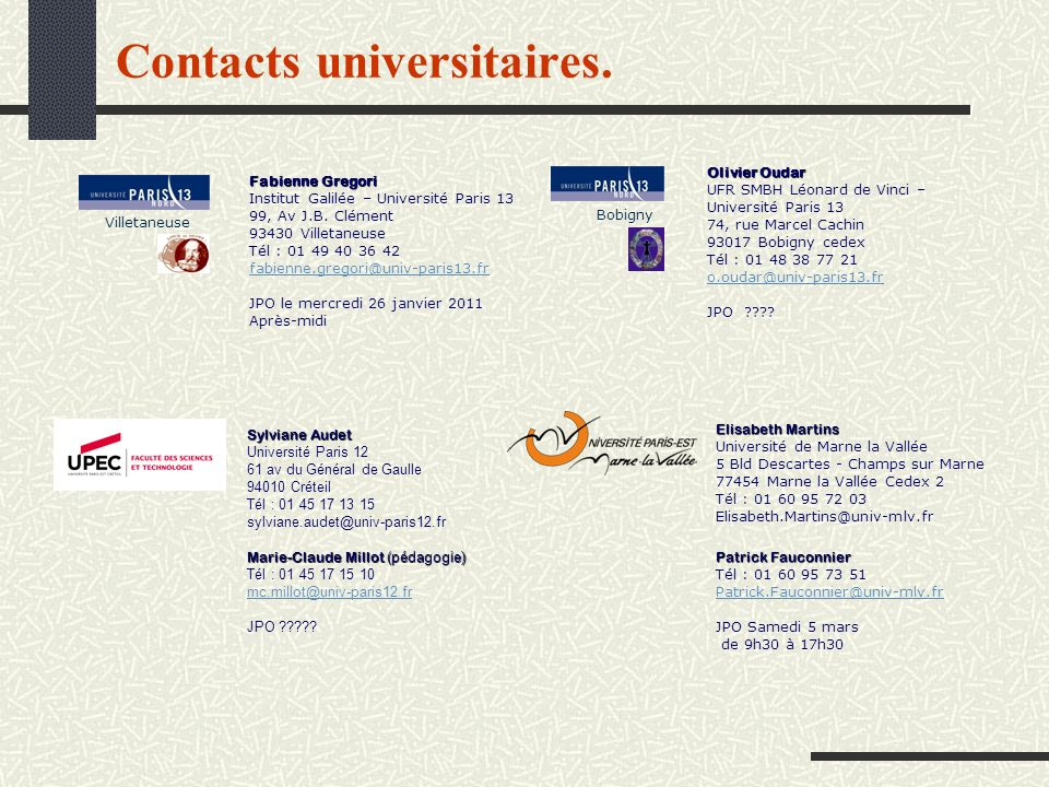 Contacts universitaires. Fabienne Gregori Institut Galilée – Université Paris 13 99, Av J.B. Clément 93430 Villetaneuse Tél : 01 49 40 36 42 fabienne.
