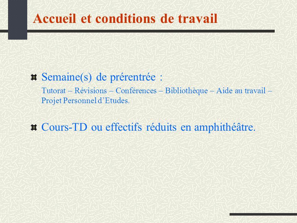 Accueil et conditions de travail Semaine(s) de prérentrée : Tutorat – Révisions – Conférences – Bibliothèque – Aide au travail – Projet Personnel dEtu