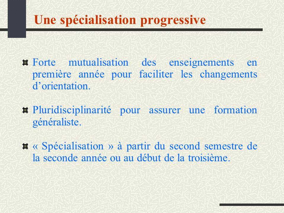 Une spécialisation progressive Forte mutualisation des enseignements en première année pour faciliter les changements dorientation. Pluridisciplinarit