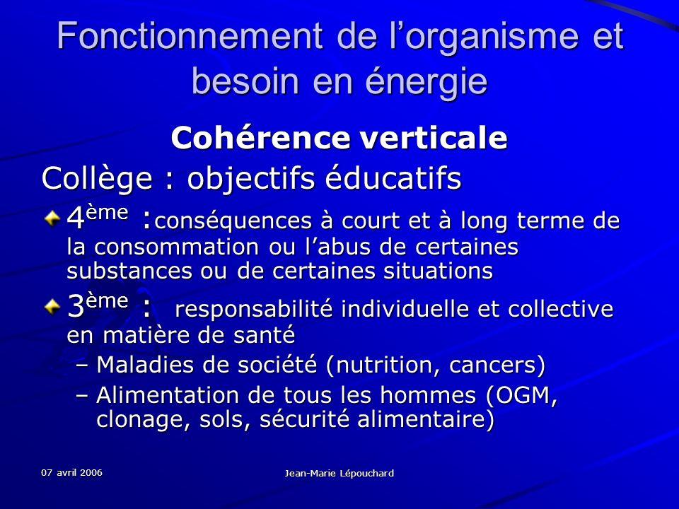 07 avril 2006 Jean-Marie Lépouchard Fonctionnement de lorganisme et besoin en énergie Cohérence verticale Collège : objectifs éducatifs 4 ème : conséq