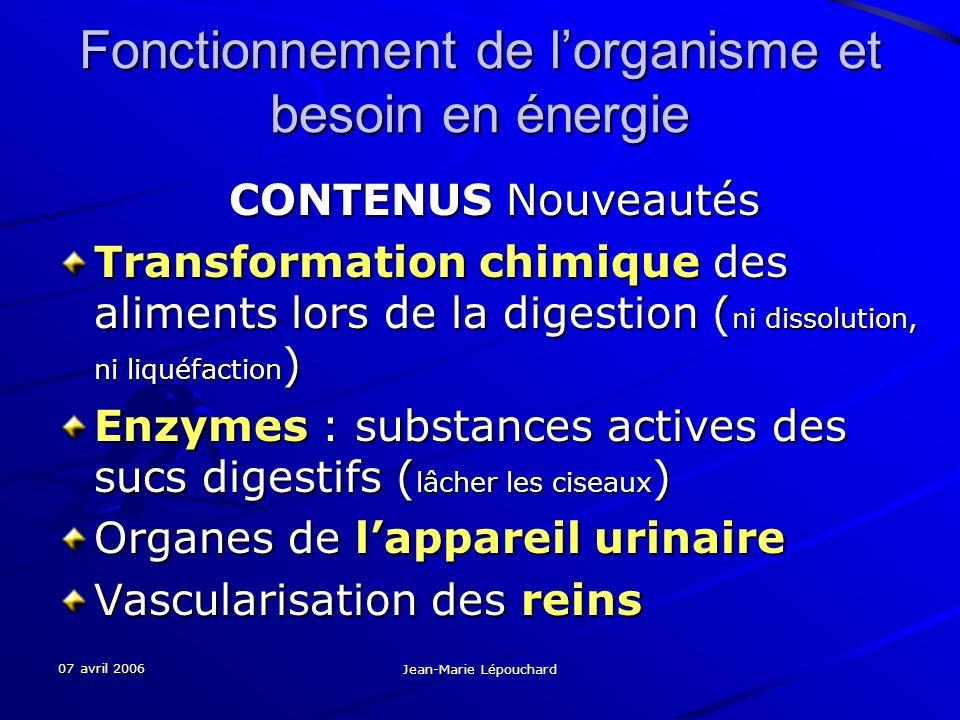07 avril 2006 Jean-Marie Lépouchard Fonctionnement de lorganisme et besoin en énergie CONTENUS Nouveautés Transformation chimique des aliments lors de