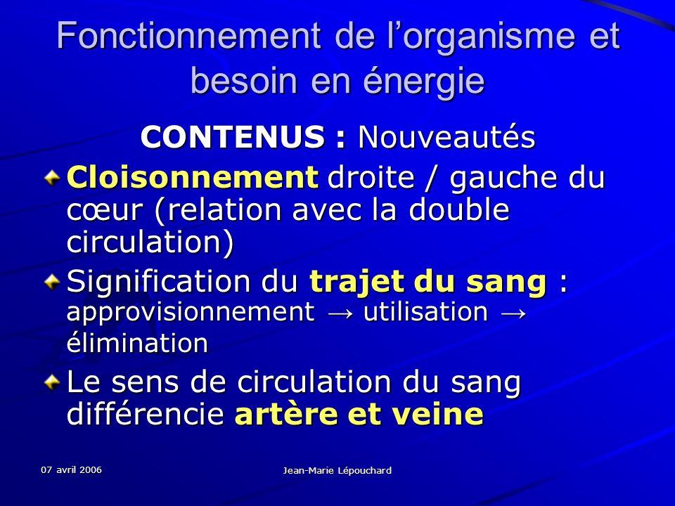 07 avril 2006 Jean-Marie Lépouchard Fonctionnement de lorganisme et besoin en énergie CONTENUS : Nouveautés Cloisonnement droite / gauche du cœur (rel