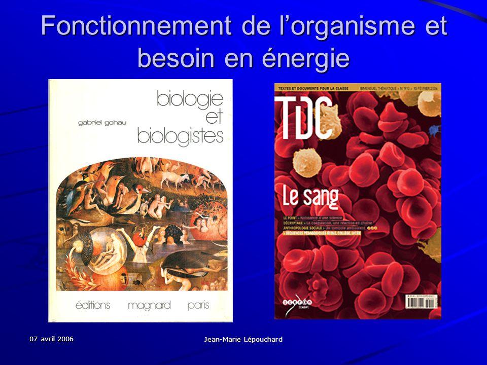 07 avril 2006 Jean-Marie Lépouchard Fonctionnement de lorganisme et besoin en énergie
