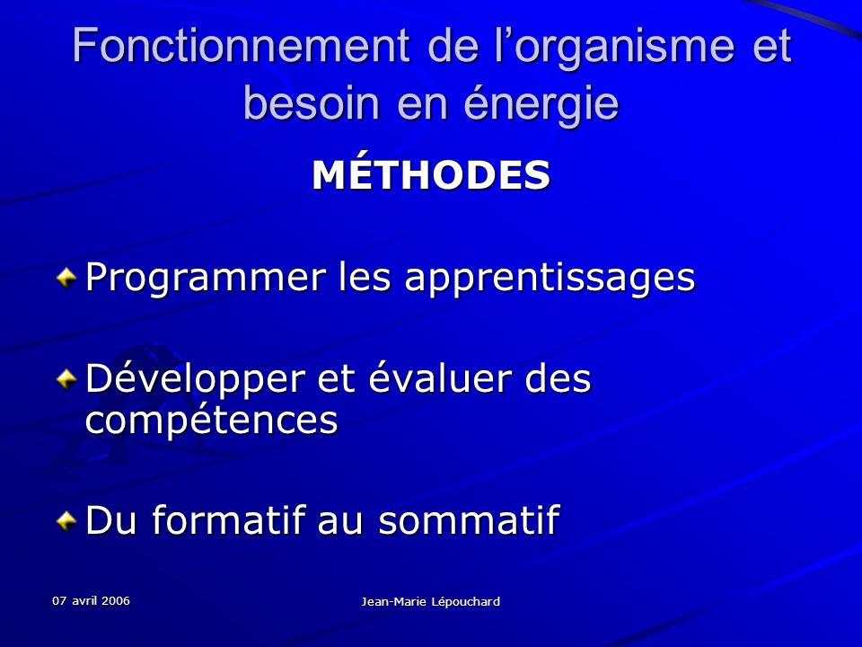 07 avril 2006 Jean-Marie Lépouchard Fonctionnement de lorganisme et besoin en énergie MÉTHODES Programmer les apprentissages Développer et évaluer des