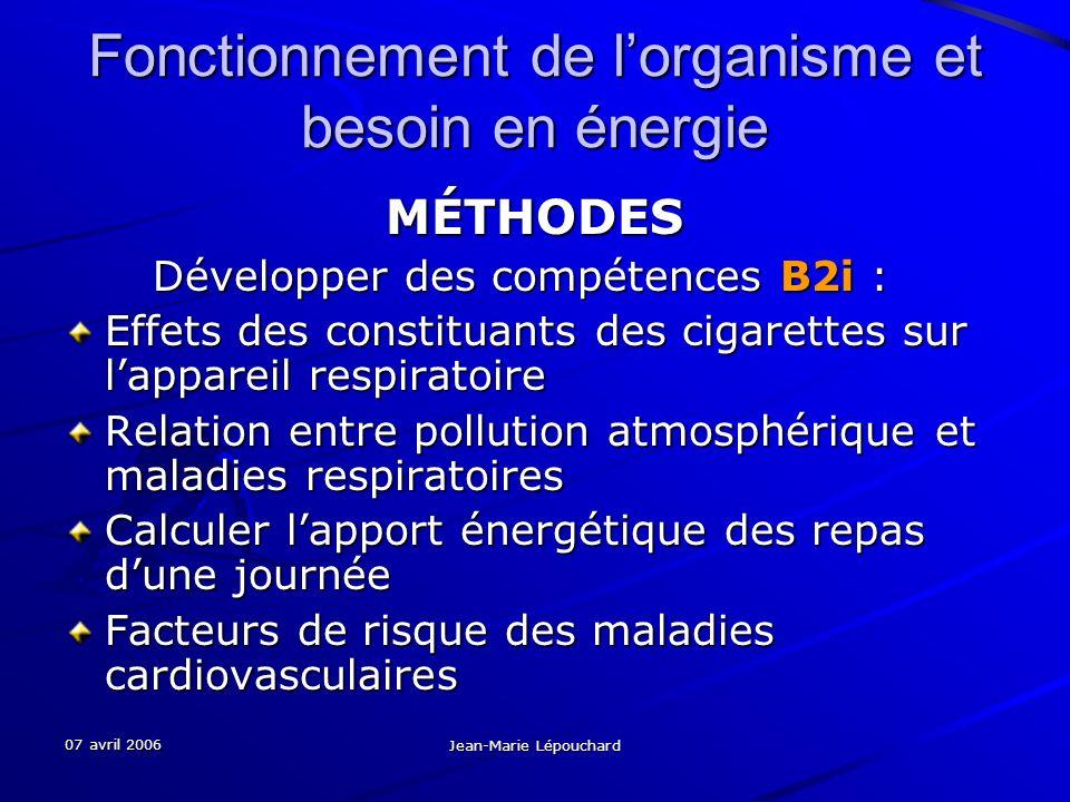 07 avril 2006 Jean-Marie Lépouchard Fonctionnement de lorganisme et besoin en énergie MÉTHODES Développer des compétences B2i : Développer des compéte