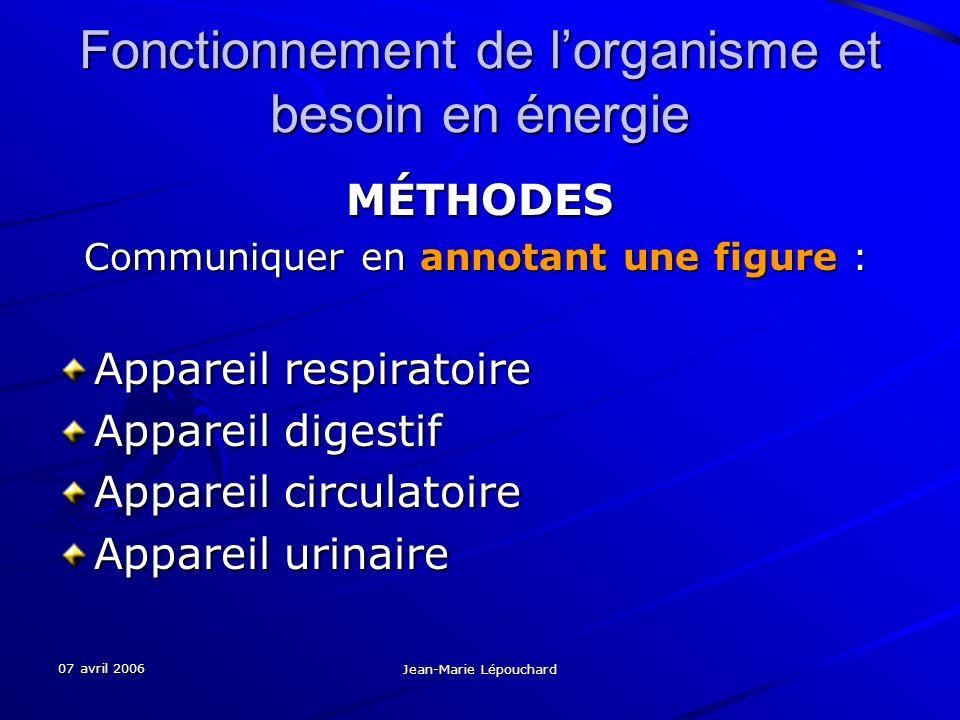 07 avril 2006 Jean-Marie Lépouchard Fonctionnement de lorganisme et besoin en énergie MÉTHODES Communiquer en annotant une figure : Communiquer en ann