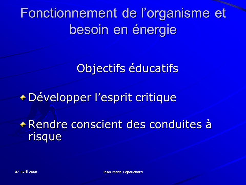 07 avril 2006 Jean-Marie Lépouchard Fonctionnement de lorganisme et besoin en énergie Objectifs éducatifs Objectifs éducatifs Développer lesprit criti