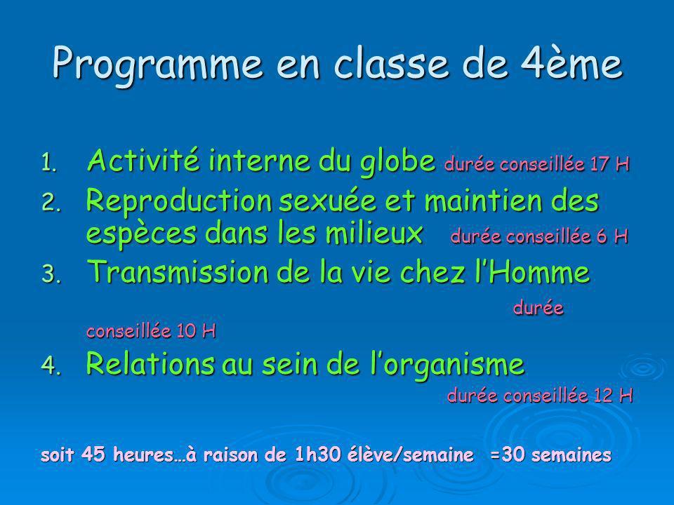 Programme en classe de 4ème 1. Activité interne du globe durée conseillée 17 H 2. Reproduction sexuée et maintien des espèces dans les milieux durée c