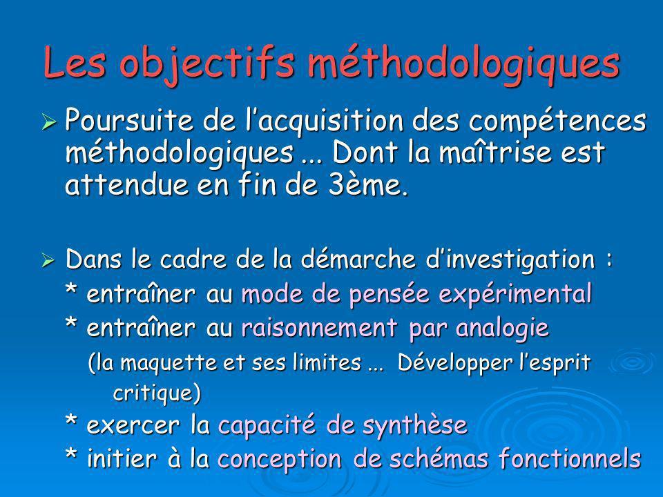 Les objectifs méthodologiques Poursuite de lacquisition des compétences méthodologiques... Dont la maîtrise est attendue en fin de 3ème. Poursuite de