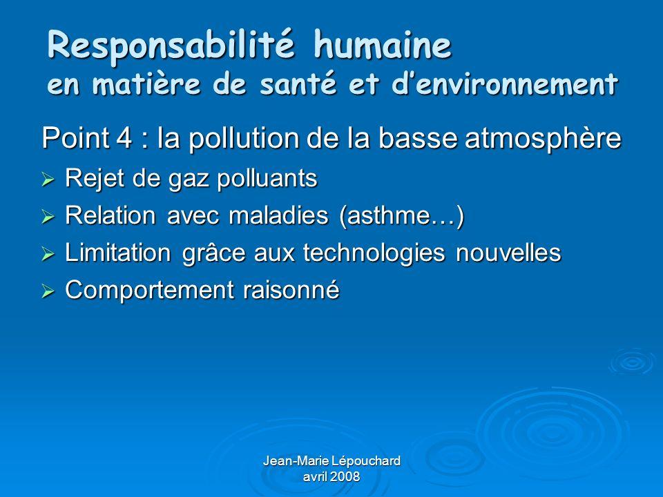 Jean-Marie Lépouchard avril 2008 Responsabilité humaine en matière de santé et denvironnement Point 5 : la pollution des sols, de leau Définir polluant, pollution Définir polluant, pollution Critères de sol, deau polluée Critères de sol, deau polluée Recherche dorigine de pollution Recherche dorigine de pollution