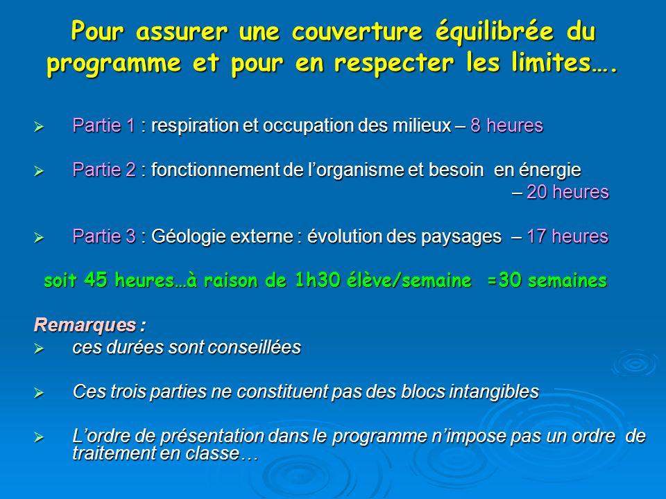 Pour assurer une couverture équilibrée du programme et pour en respecter les limites…. Partie 1 : respiration et occupation des milieux – 8 heures Par