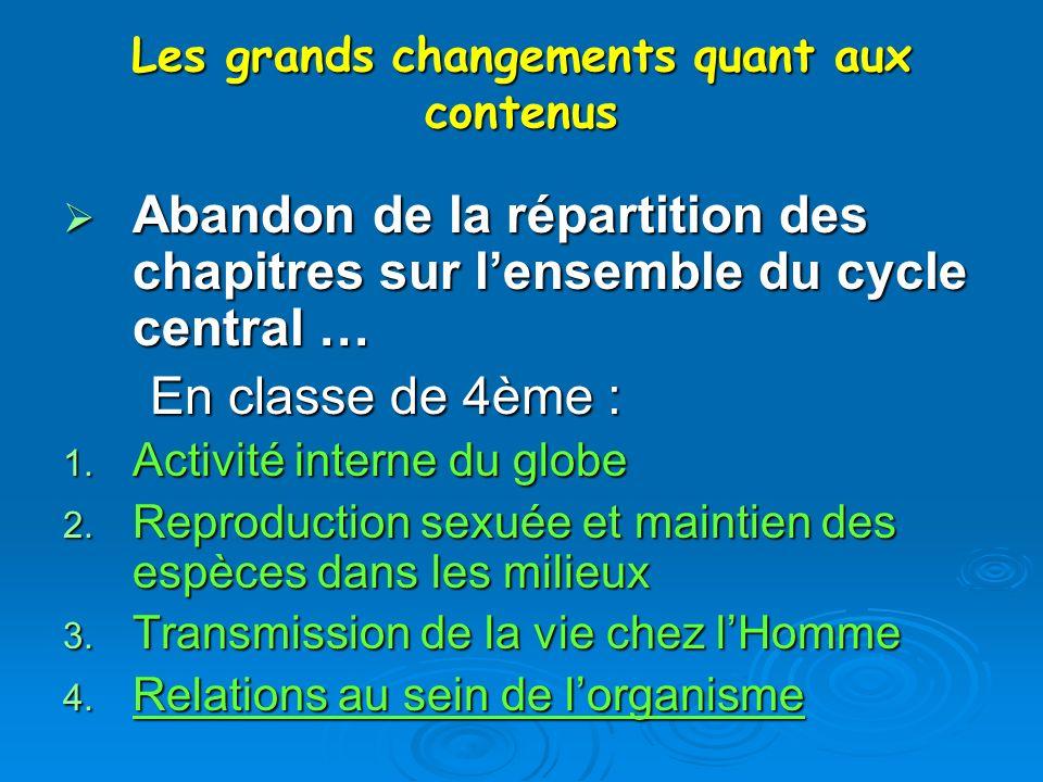 Les grands changements quant aux contenus Abandon de la répartition des chapitres sur lensemble du cycle central … Abandon de la répartition des chapi