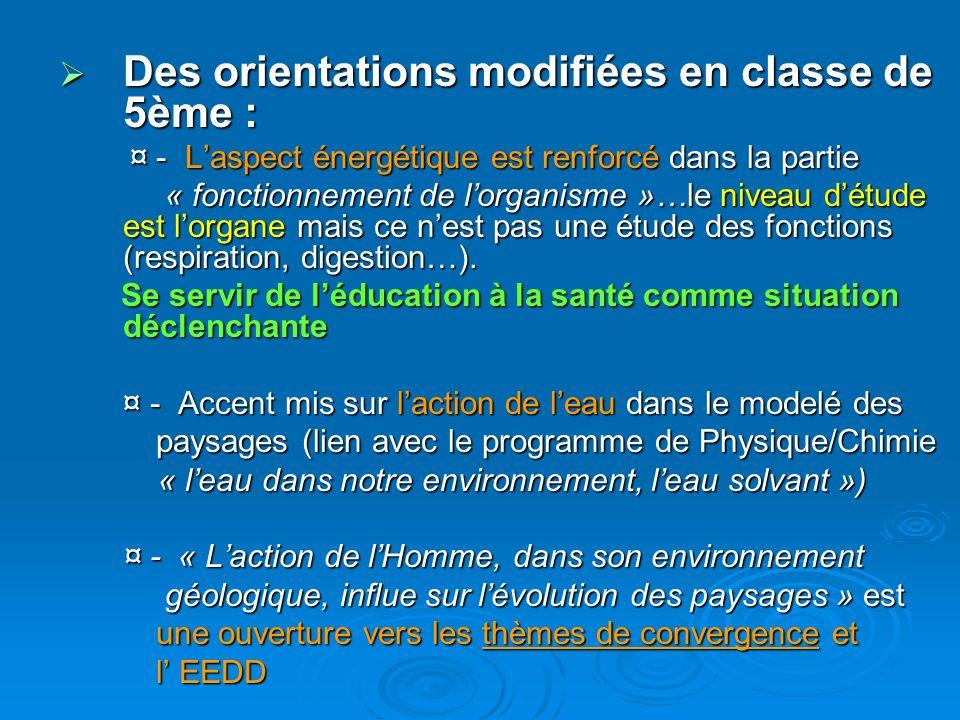 Des orientations modifiées en classe de 5ème : Des orientations modifiées en classe de 5ème : ¤ - Laspect énergétique est renforcé dans la partie ¤ -