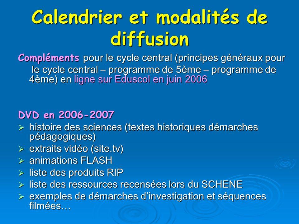Calendrier et modalités de diffusion Compléments pour le cycle central (principes généraux pour le cycle central – programme de 5ème – programme de 4è