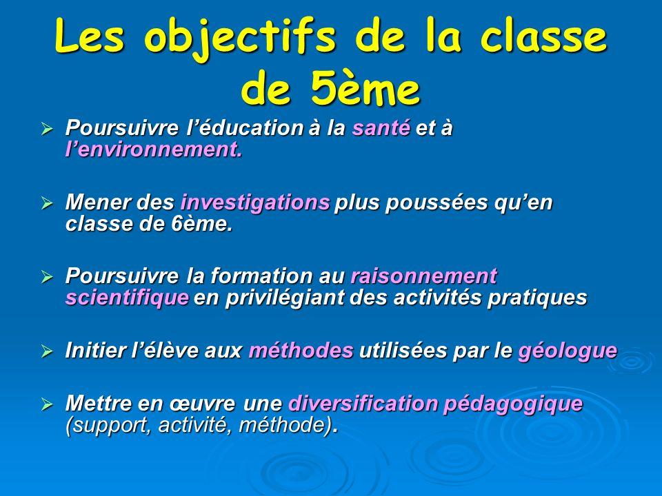 Les objectifs de la classe de 5ème Poursuivre léducation à la santé et à lenvironnement. Poursuivre léducation à la santé et à lenvironnement. Mener d