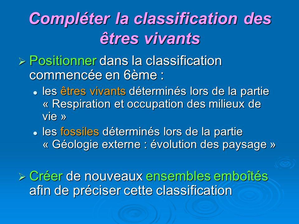 Compléter la classification des êtres vivants Positionner dans la classification commencée en 6ème : Positionner dans la classification commencée en 6