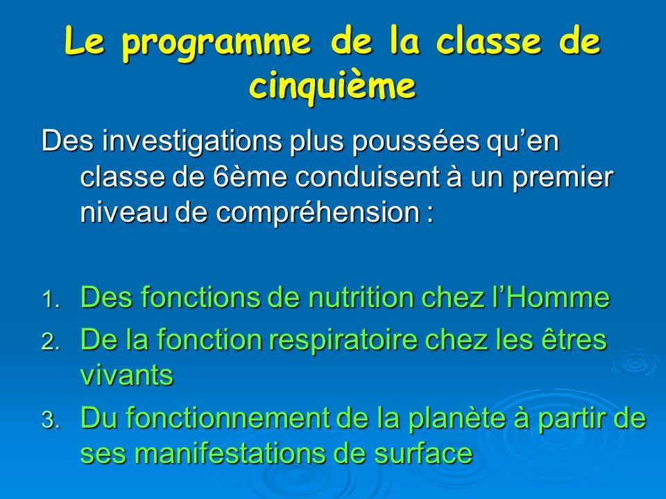 Le programme de la classe de cinquième Des investigations plus poussées quen classe de 6ème conduisent à un premier niveau de compréhension : 1. Des f