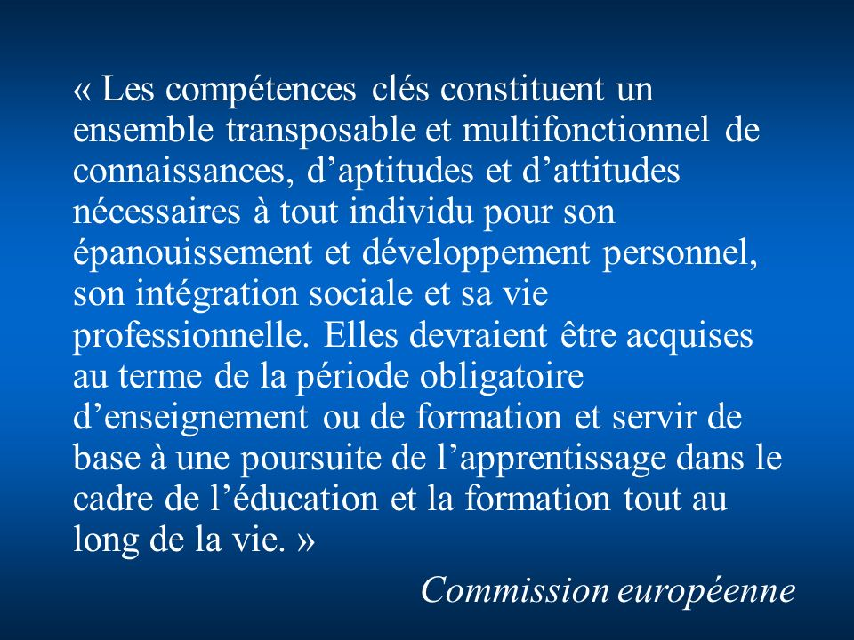 Jean-Marie Lépouchard Avril 2008www.ac-creteil.fr/mission-college Entracte « Les compétences clés constituent un ensemble transposable et multifonctio
