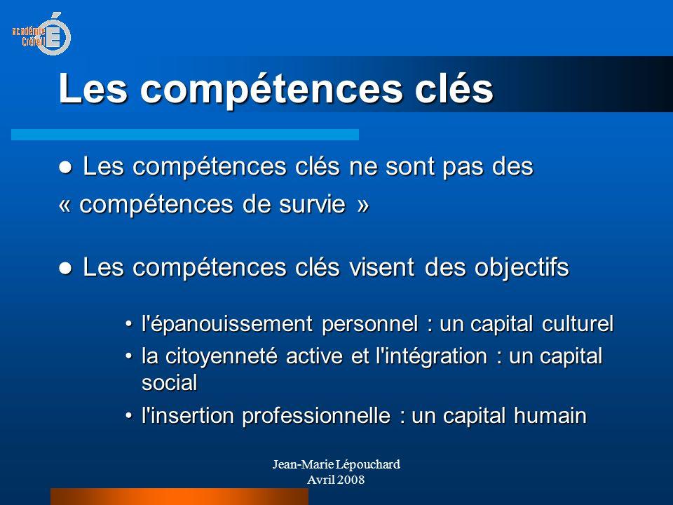 Jean-Marie Lépouchard Avril 2008 Les compétences clés Les compétences clés ne sont pas des Les compétences clés ne sont pas des « compétences de survi