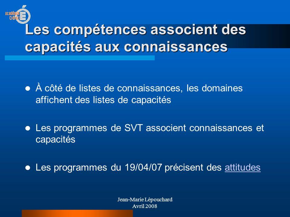Jean-Marie Lépouchard Avril 2008 Les compétences associent des capacités aux connaissances À côté de listes de connaissances, les domaines affichent d