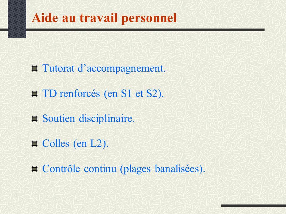 Aide au travail personnel Tutorat daccompagnement. TD renforcés (en S1 et S2). Soutien disciplinaire. Colles (en L2). Contrôle continu (plages banalis
