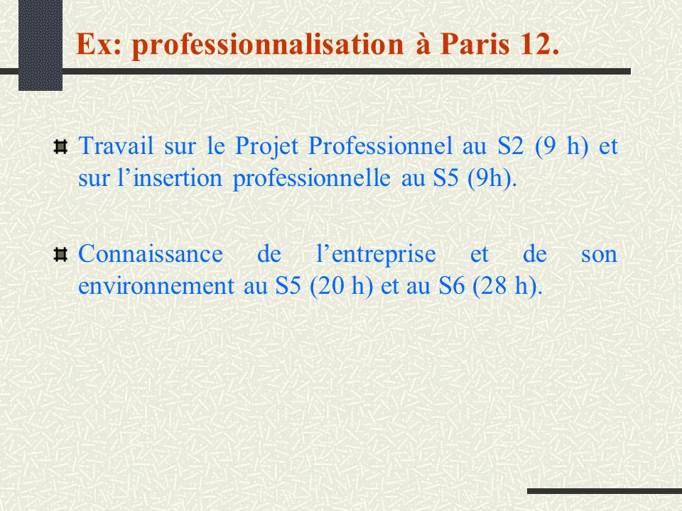 Travail sur le Projet Professionnel au S2 (9 h) et sur linsertion professionnelle au S5 (9h). Connaissance de lentreprise et de son environnement au S