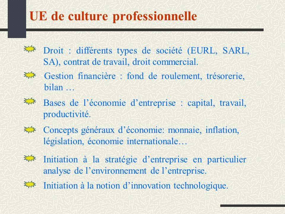 UE de culture professionnelle Droit : différents types de société (EURL, SARL, SA), contrat de travail, droit commercial. Gestion financière : fond de