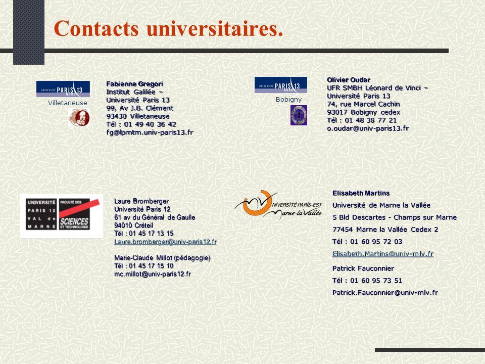 Contacts universitaires. Fabienne Gregori Institut Galilée – Université Paris 13 99, Av J.B. Clément 93430 Villetaneuse Tél : 01 49 40 36 42 fg@lpmtm.
