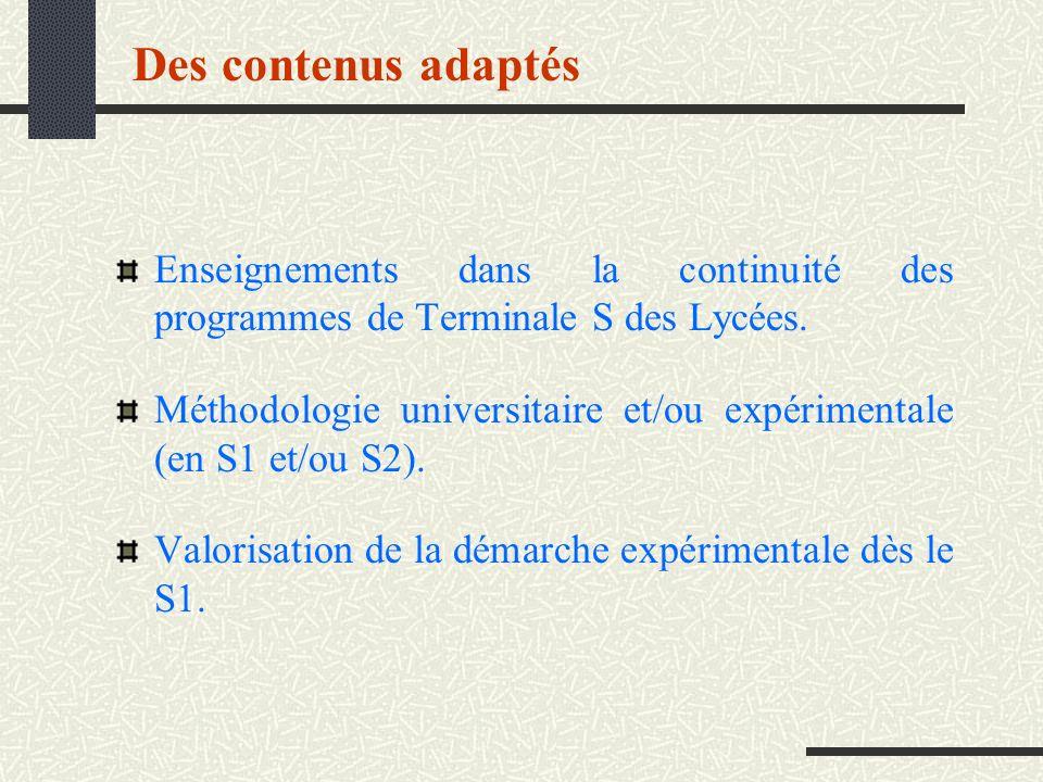 Des contenus adaptés Enseignements dans la continuité des programmes de Terminale S des Lycées. Méthodologie universitaire et/ou expérimentale (en S1