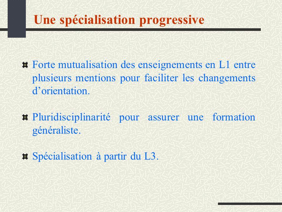 Une spécialisation progressive Forte mutualisation des enseignements en L1 entre plusieurs mentions pour faciliter les changements dorientation. Pluri