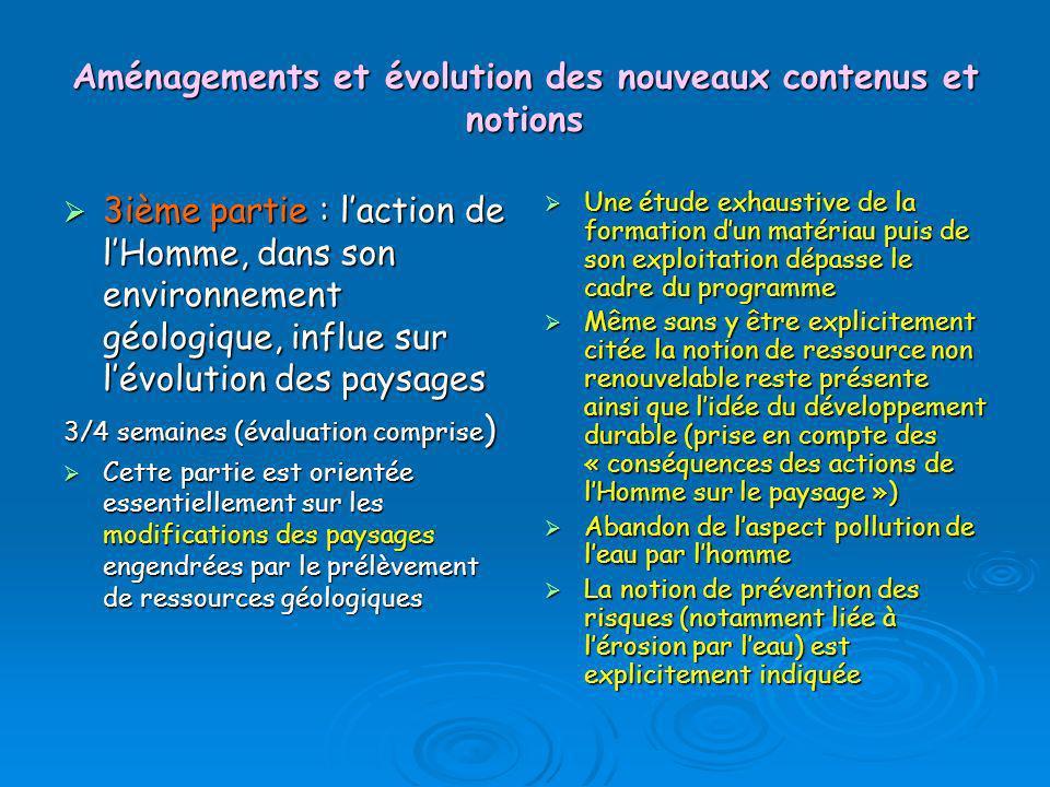 Aménagements et évolution des nouveaux contenus et notions 3ième partie : laction de lHomme, dans son environnement géologique, influe sur lévolution