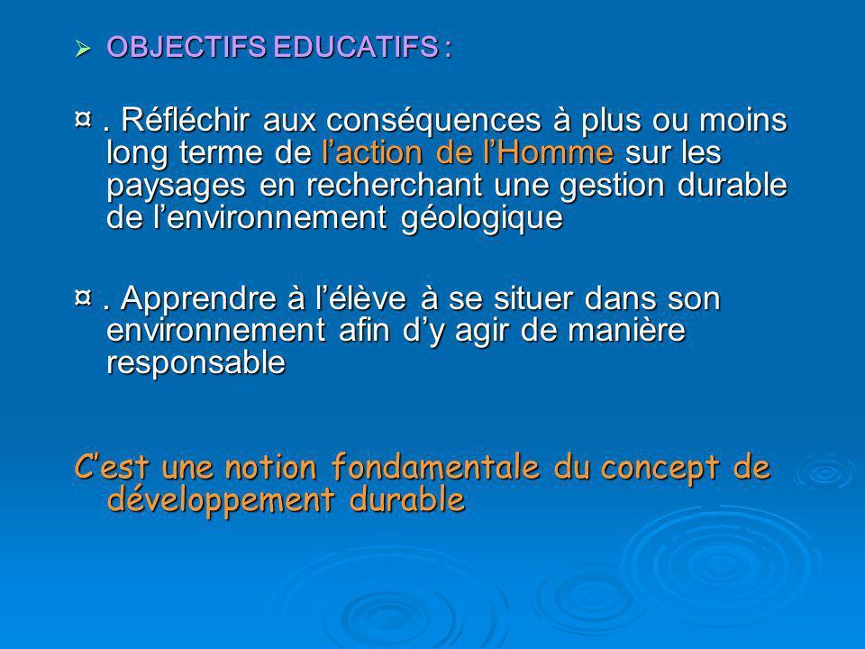 OBJECTIFS EDUCATIFS : OBJECTIFS EDUCATIFS : ¤. Réfléchir aux conséquences à plus ou moins long terme de laction de lHomme sur les paysages en recherch