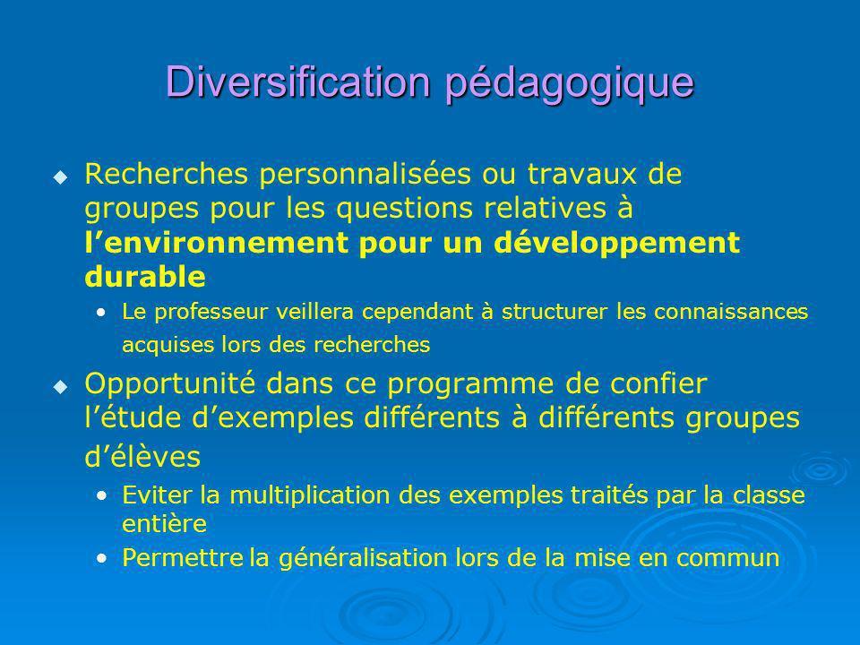 Diversification pédagogique Recherches personnalisées ou travaux de groupes pour les questions relatives à lenvironnement pour un développement durabl