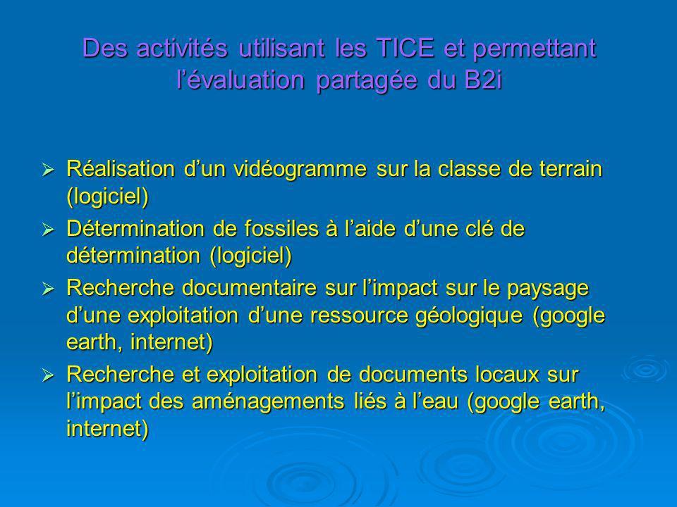 Des activités utilisant les TICE et permettant lévaluation partagée du B2i Réalisation dun vidéogramme sur la classe de terrain (logiciel) Réalisation