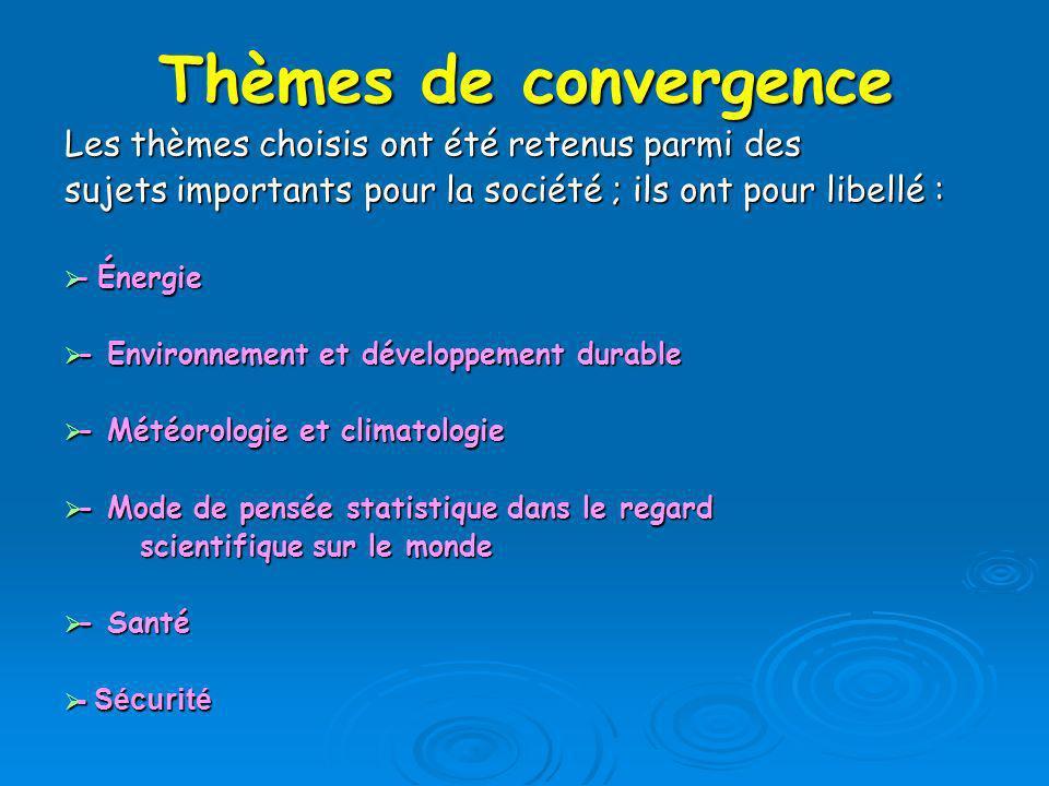 Thèmes de convergence Les thèmes choisis ont été retenus parmi des sujets importants pour la société ; ils ont pour libellé : - Énergie - Énergie - En