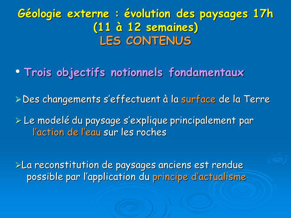 Géologie externe : évolution des paysages 17h (11 à 12 semaines) LES CONTENUS Trois objectifs notionnels fondamentaux Des changements seffectuent à la