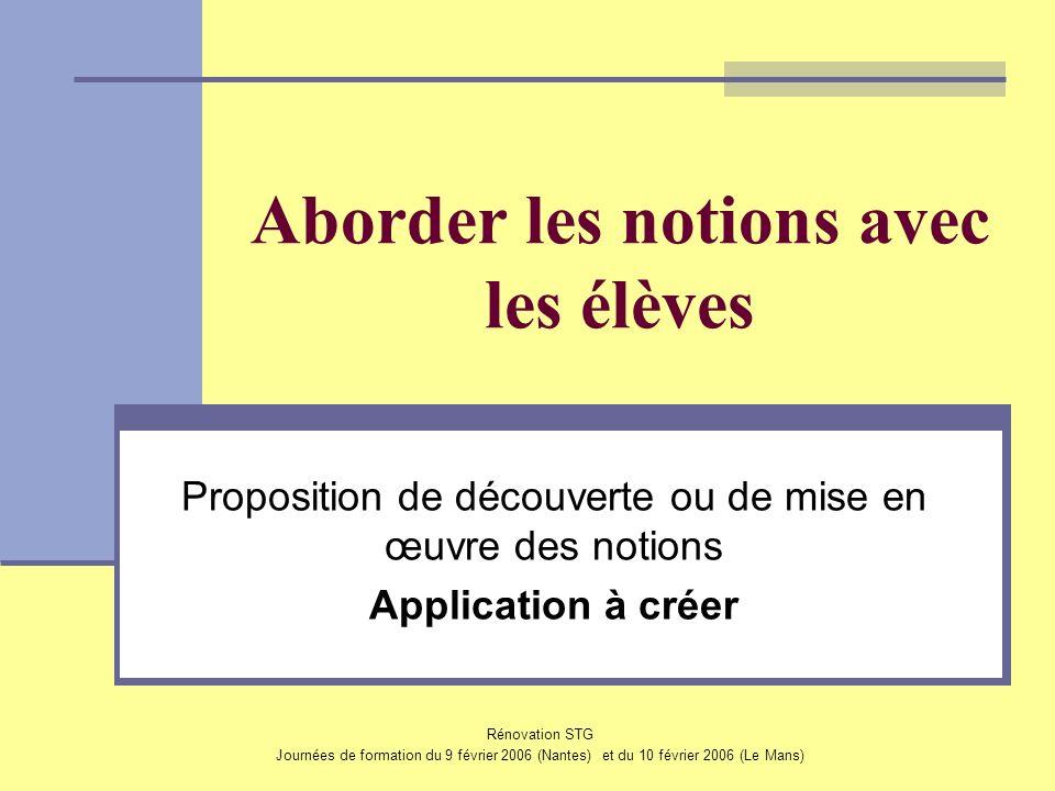 Rénovation STG Journées de formation du 9 février 2006 (Nantes) et du 10 février 2006 (Le Mans) Aborder les notions avec les élèves Proposition de déc