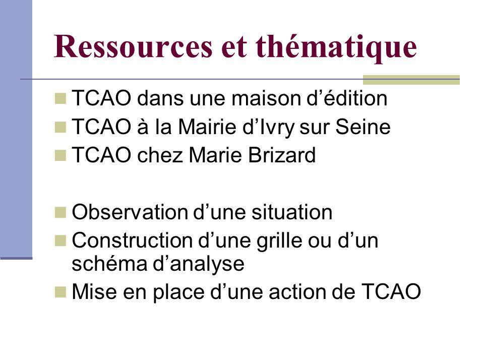 Ressources et thématique TCAO dans une maison dédition TCAO à la Mairie dIvry sur Seine TCAO chez Marie Brizard Observation dune situation Constructio