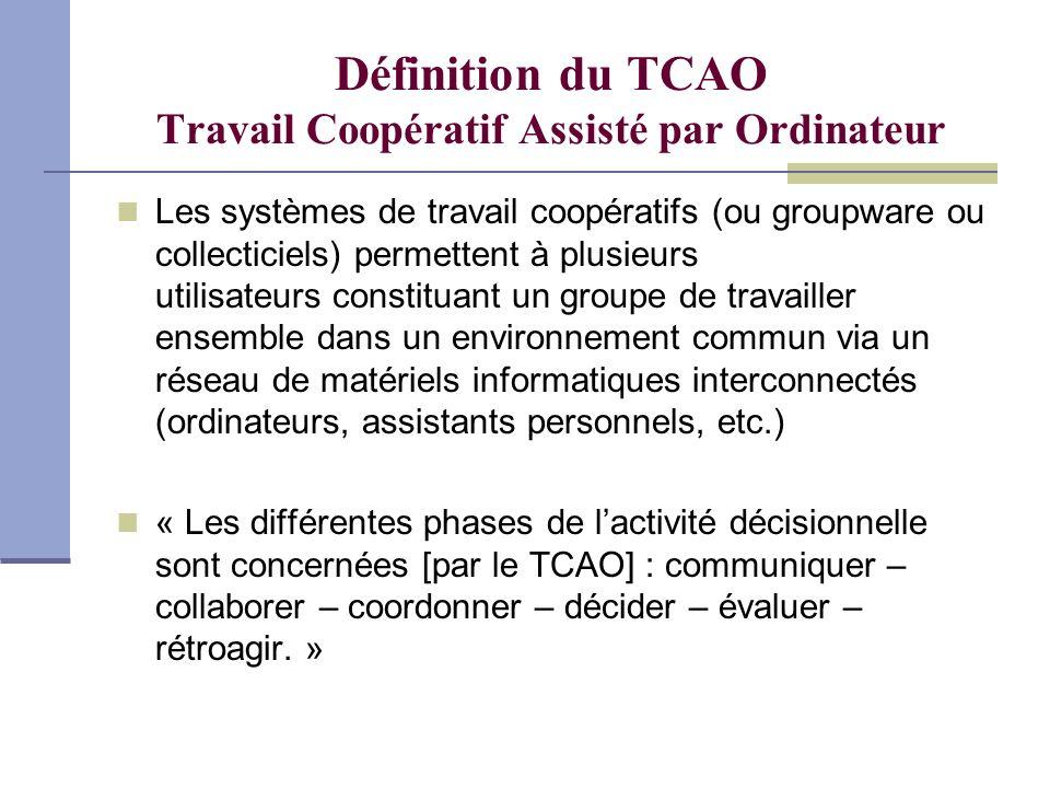Définition du TCAO Travail Coopératif Assisté par Ordinateur Les systèmes de travail coopératifs (ou groupware ou collecticiels) permettent à plusieur
