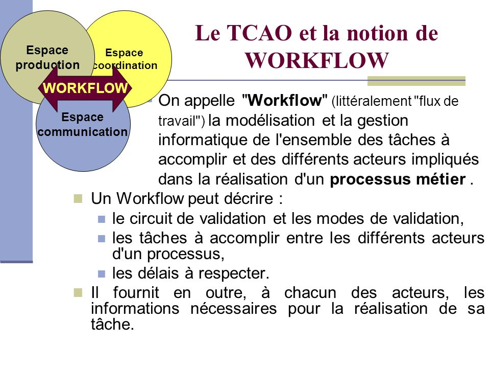 Le TCAO et la notion de WORKFLOW On appelle