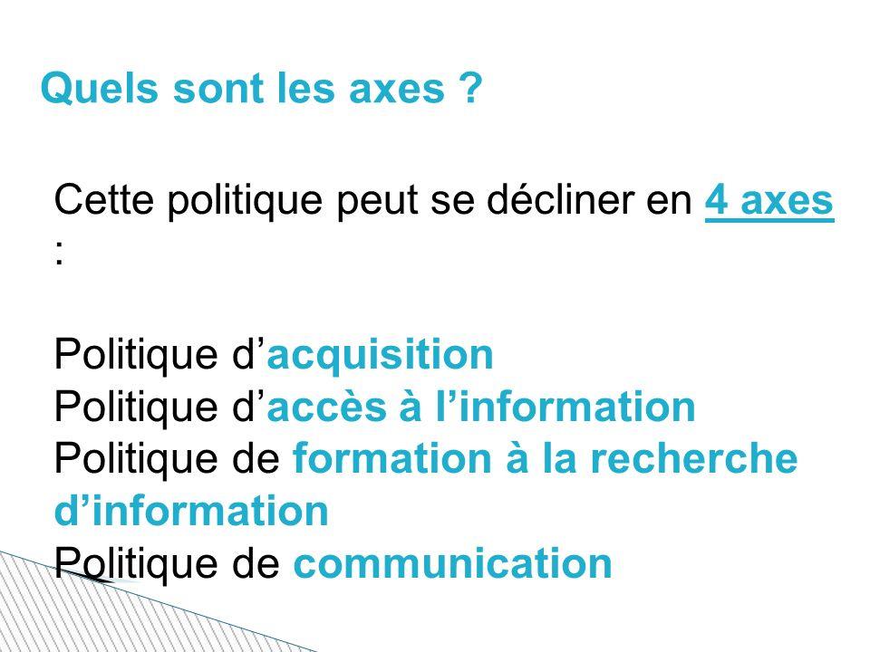 Cette politique peut se décliner en 4 axes : Politique dacquisition Politique daccès à linformation Politique de formation à la recherche dinformation Politique de communication Quels sont les axes ?