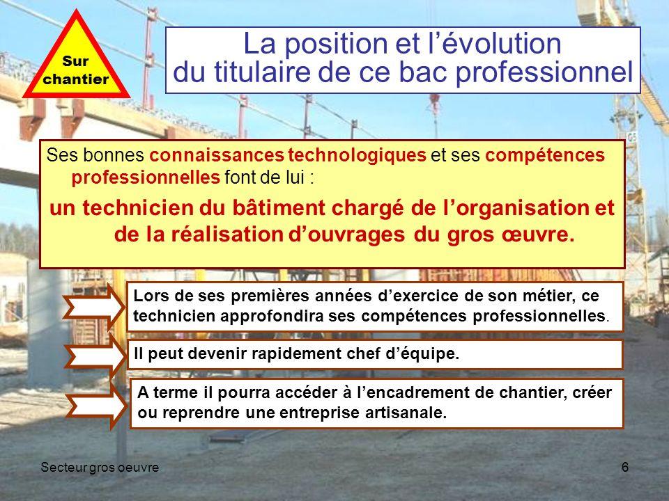 Secteur gros oeuvre6 La position et lévolution du titulaire de ce bac professionnel Ses bonnes connaissances technologiques et ses compétences profess