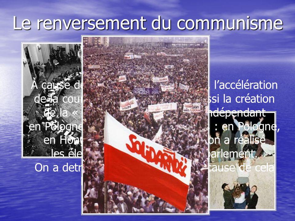 Le renversement du communisme À cause de la diminution de lURSS, laccélération de la course des armements et aussi la création de la « Solidarité »- le syndicat indépendant en Pologne dans les pays socialistes : en Pologne, en Hongrie, à Tchèchoslovaquie on a réalisé les élections démocratique au parlement.