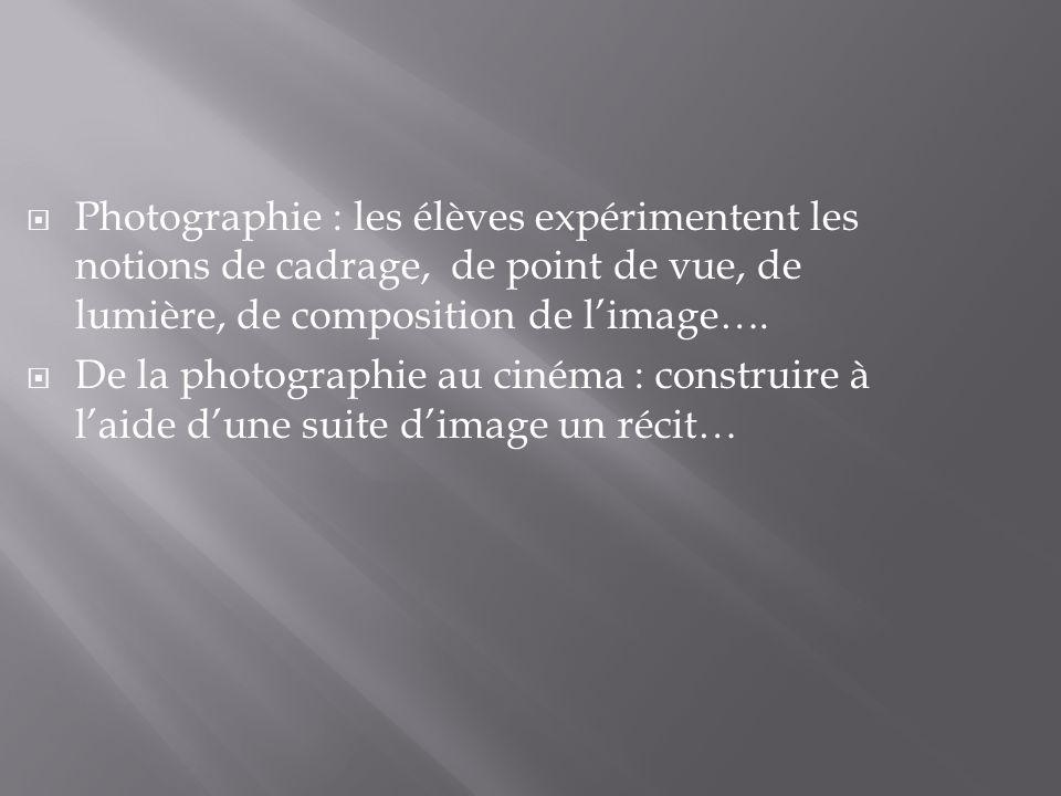 Photographie : les élèves expérimentent les notions de cadrage, de point de vue, de lumière, de composition de limage…. De la photographie au cinéma :