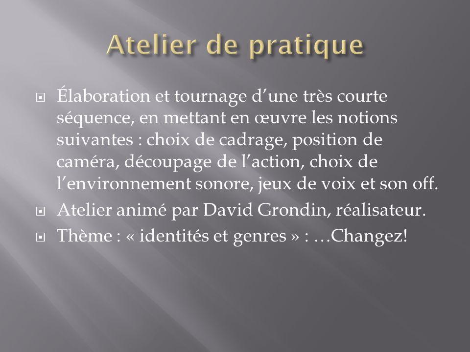 Élaboration et tournage dune très courte séquence, en mettant en œuvre les notions suivantes : choix de cadrage, position de caméra, découpage de lact