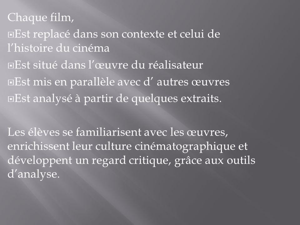 Chaque film, Est replacé dans son contexte et celui de lhistoire du cinéma Est situé dans lœuvre du réalisateur Est mis en parallèle avec d autres œuv