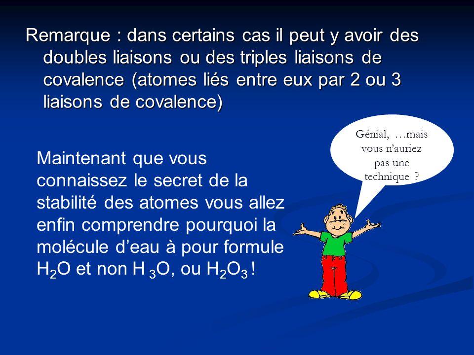 Remarque : dans certains cas il peut y avoir des doubles liaisons ou des triples liaisons de covalence (atomes liés entre eux par 2 ou 3 liaisons de c