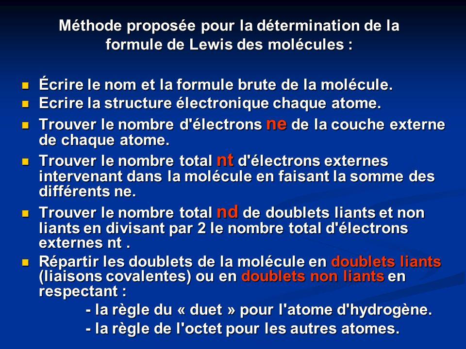 Écrire le nom et la formule brute de la molécule. Écrire le nom et la formule brute de la molécule. Ecrire la structure électronique chaque atome. Ecr