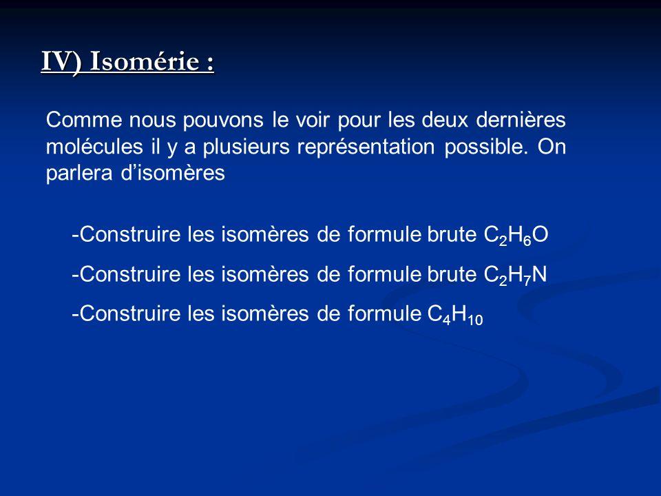 IV) Isomérie : Comme nous pouvons le voir pour les deux dernières molécules il y a plusieurs représentation possible. On parlera disomères -Construire